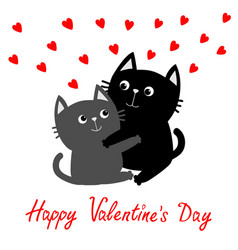 Happy valentines day black gray cat hugging couple vector
