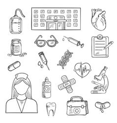 Hospital and medicine sketch objects vector
