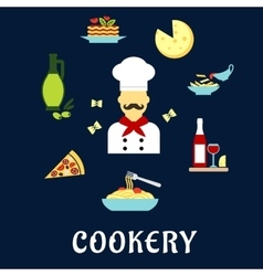 Italian cuisine flat icons with chef and dishes vector