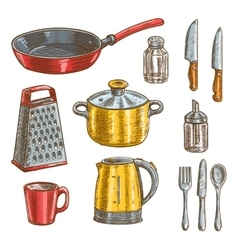 Kitchen and cooking utensils sketches vector