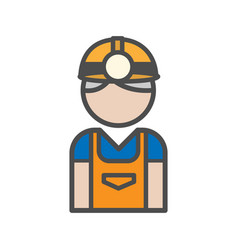Miner avatar icon on white background vector