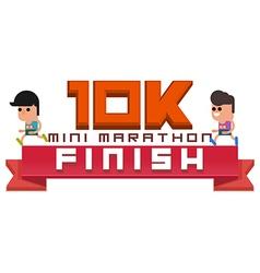 Mini marathon 10k running finish vector