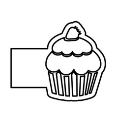 monochrome contour of cupcake with strawberry and vector image vector image