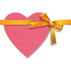 Paper heart with tied golden ribbon vector image vector image