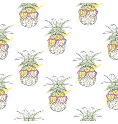 Pineapple with glasses pattern- vector