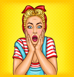 pop art surprised housewife with open mouth vector image vector image