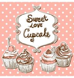 Retro frame with cupcake vector