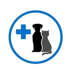 Round veterinary icon with pets vector
