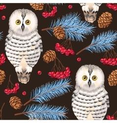 Seamless polar owl rowan and fir branches vector