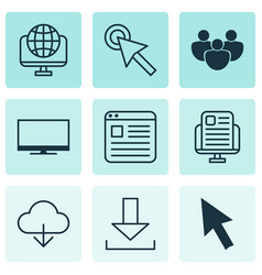 Set of 9 online connection icons includes cursor vector