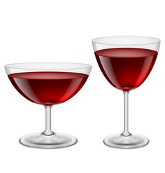 Two glasses of red wine on white for creative vector