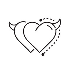 Two line icon style heart devil vector