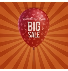 Valentines day big sale holiday red balloon vector