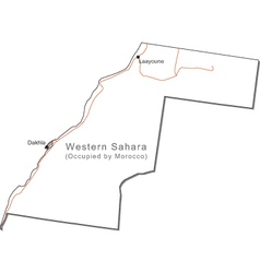 Western Sahara Black White Map with Capital a Majo vector image vector image