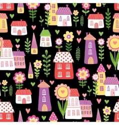 Seamless of cheerful houses vector