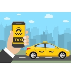 Phone with interface taxi vector image