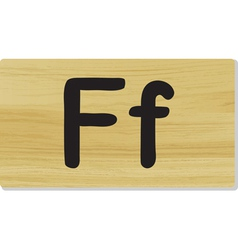 wooden letter F vector image