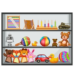 Shelves fullo f toys vector image