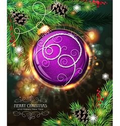 Purple christmas ball vector