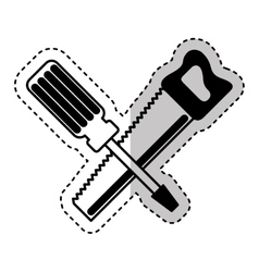 Handsaw and screwdriver tools isolated icon vector