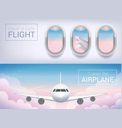 airplane window the tourist banner passenger vector image
