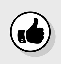 Hand sign   flat black icon in vector