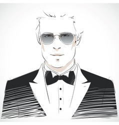 Elegant young businessman portrait vector