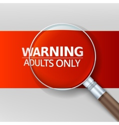 Adults only red banner with a magnifying glass vector