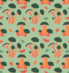 Seamless pattern with autumn leaves and mushrooms vector