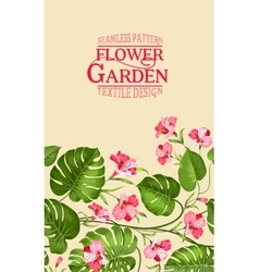 Vertical flower garden card vector