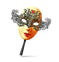 Golden full face ornate carnival mask with vector