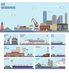 City sea port infographics vector