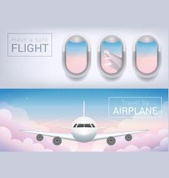 Airplane window the tourist banner passenger vector