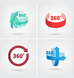 Angle 360 degrees sign icons vector
