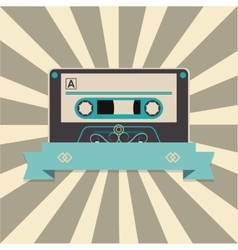 Audio cassette tape over striped background and vector