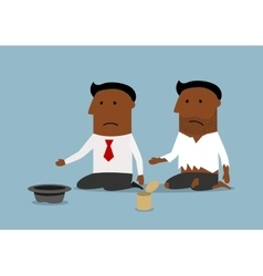 Bankrupt black businessman is begging for money vector image
