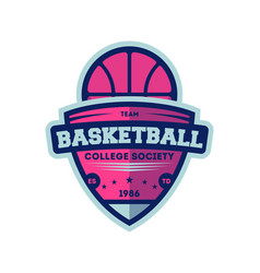 Basketball college league vintage label vector