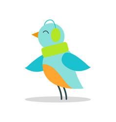 Bird blue plumage in warm earpieces listen music vector