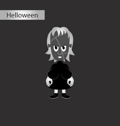 Black and white style icon of zombie woman vector