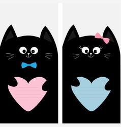 Black cat kitty family holding blue pink heart vector