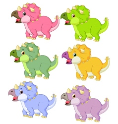 Cartoon triceratops in different color vector image