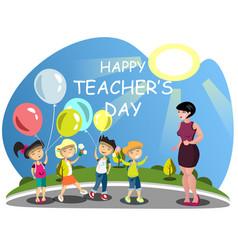 children congratulates the teacher on flowers vector image vector image