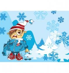 christmas kid vector image vector image