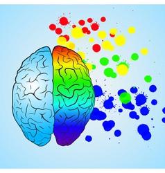 Colored left brain and right brain vector