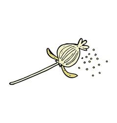 Comic cartoon dried poppy flower vector