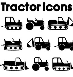 Cut out black various tractor and construction vector