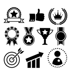 Festive celebration winner success flat icons vector