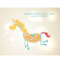 Funny cartoon horse Chinese New Year 2014 vector image vector image
