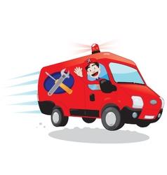 Funny handyman driving a van - express assistance vector