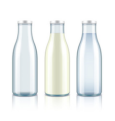 Glass bottle with milk water and empty vector image vector image